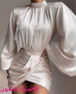 فستان سهرة قصير بكم