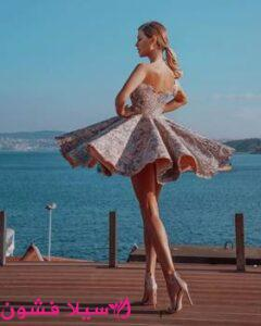فستان سهرة قصير منفوش